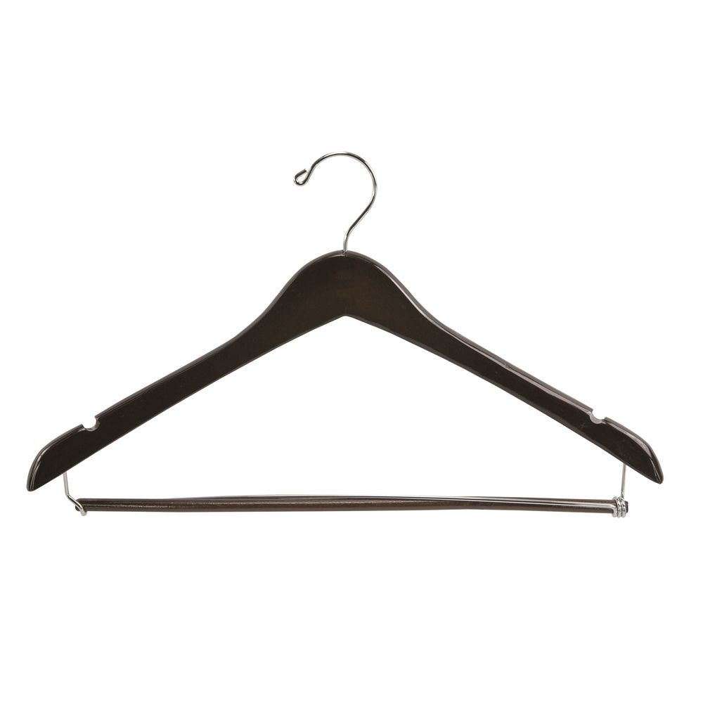 Men's Hanger, Open Hook Contour with Locking Bar, Walnut with Nickel Hook
