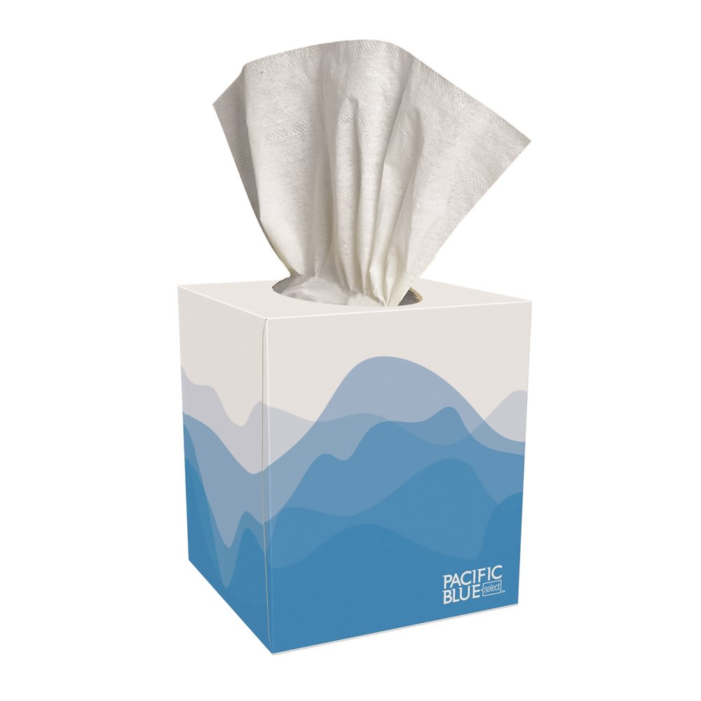 Georgia-Pacific Preference® 2-Ply Facial Tissue, Cube Box, 100 Count, White