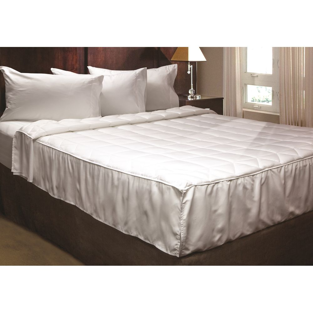 Advantiva II Microfiber Quilted Blanket, Notched Corner w/Fabric Flaps, Queen 82x98, White