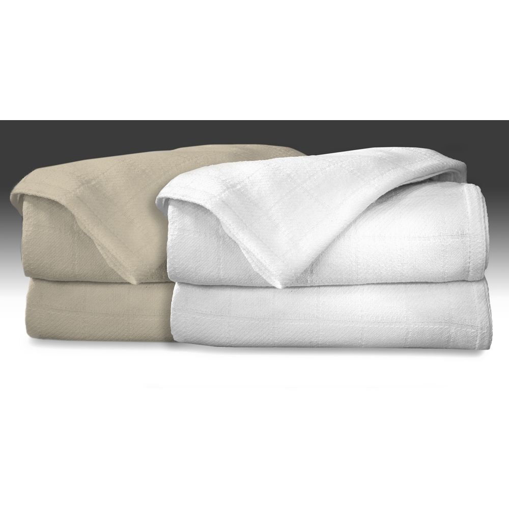 AllSoft Thermal Cotton Blanket, King 108x90, 4.1 lbs, White