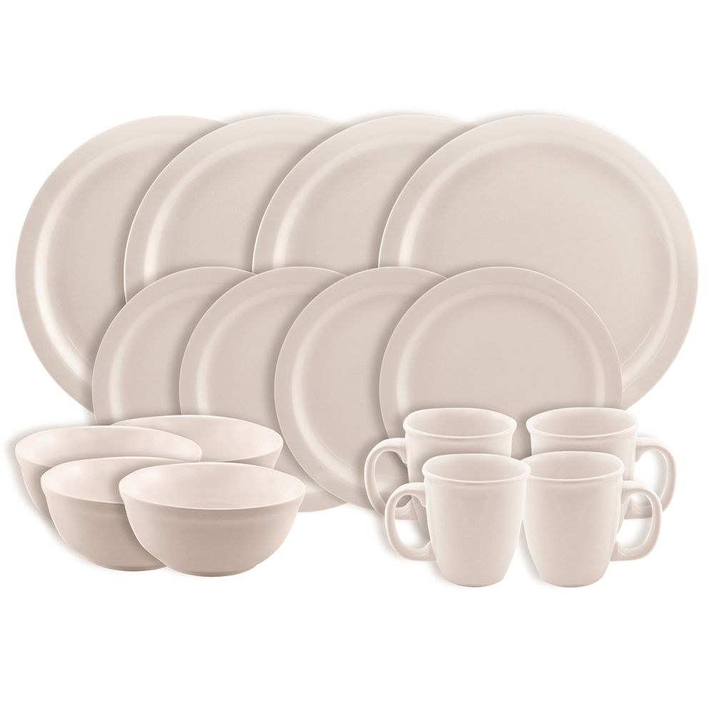 Empire Sierra 16-Piece Stoneware Set, Off White
