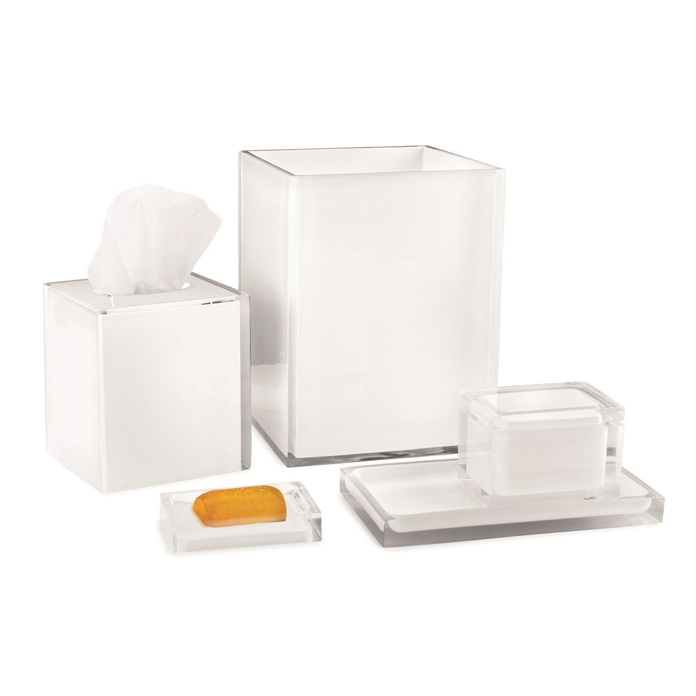 Cubix White Collection, Resin Soap Pump, Clear/White Accent