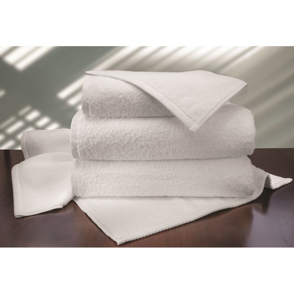 Allura Bath Towel, 100% Cotton Terry, 30x60, 18.5 lbs/dz, Diamond Hem, White