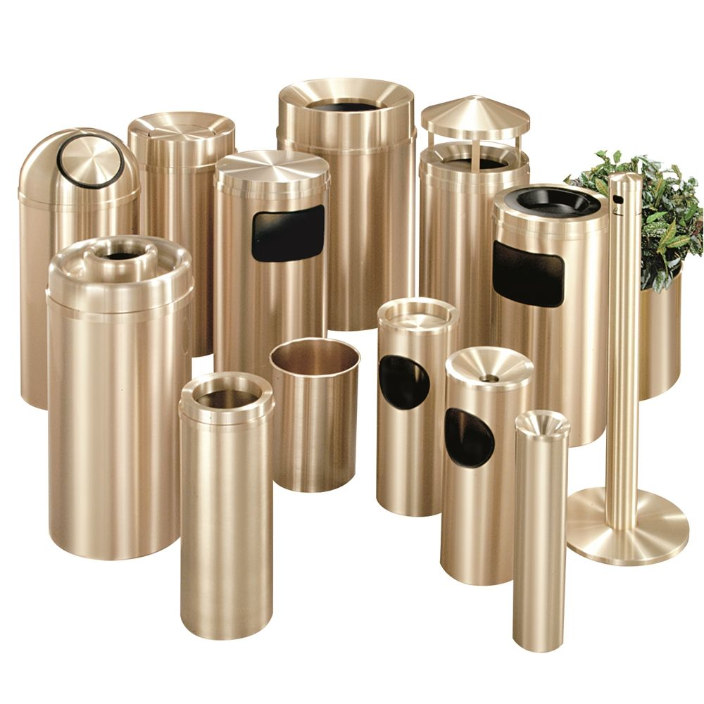 Atlantis Funnel Top Trash Receptacle, 33 Gallon, Satin Brass