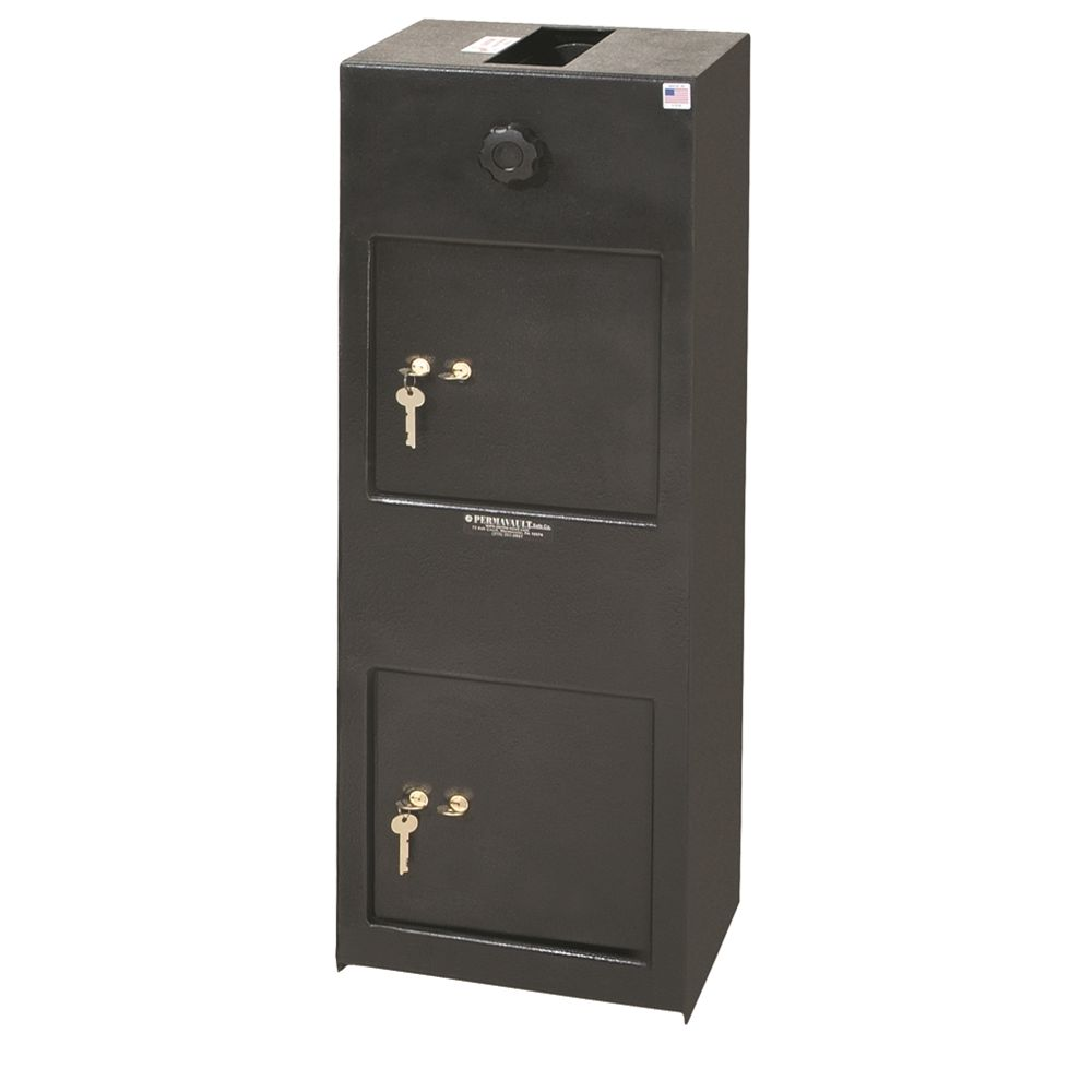 Perma-Vault Dual Compartment Cash Safe w/ Dial Combination/Dual Key Locks, 12Wx34Hx12D, Black