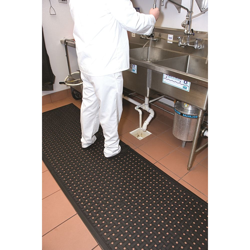 M+A Matting® Comfort Flow Mat, 2x3, 3/8in Thickness, Black