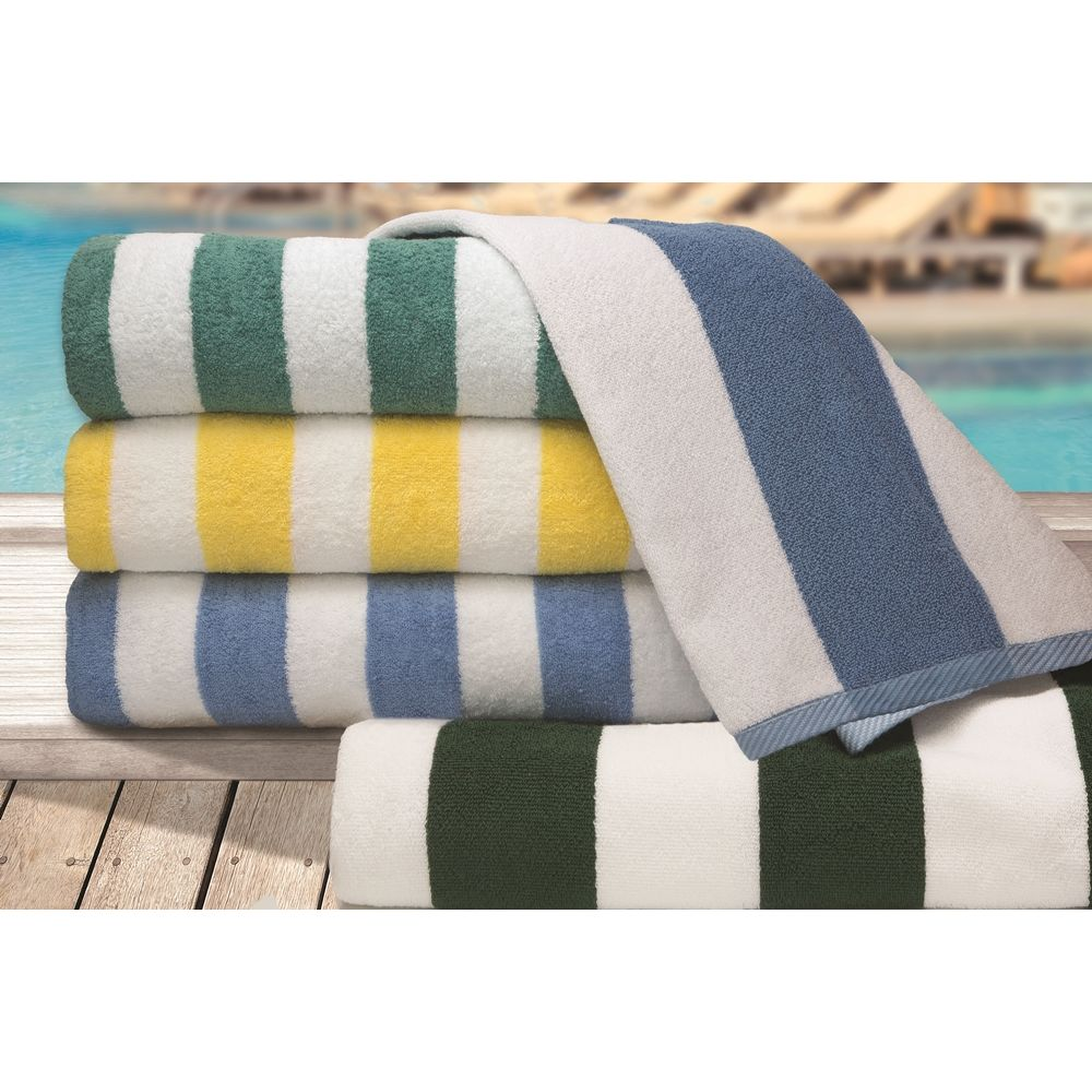 Connoisseur Pool & Beach Towel, Cotton Dobby Border, 35x70, 18.0 lbs/dz, 2in Stripes, Blue/White