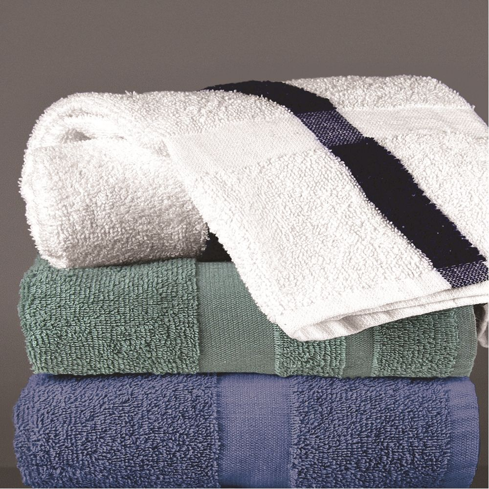 Centex Pool & Workout Towel, Blended Cam Border, 20x40, 5.5 lbs/dz, White/Blue Center Stripe