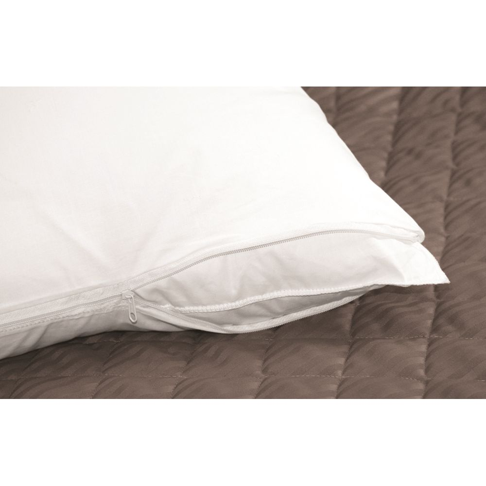 Centex T180 Blend Plain Weave, Standard Pillow Protector 20x26, Zipper Closure, White/Grey Cording