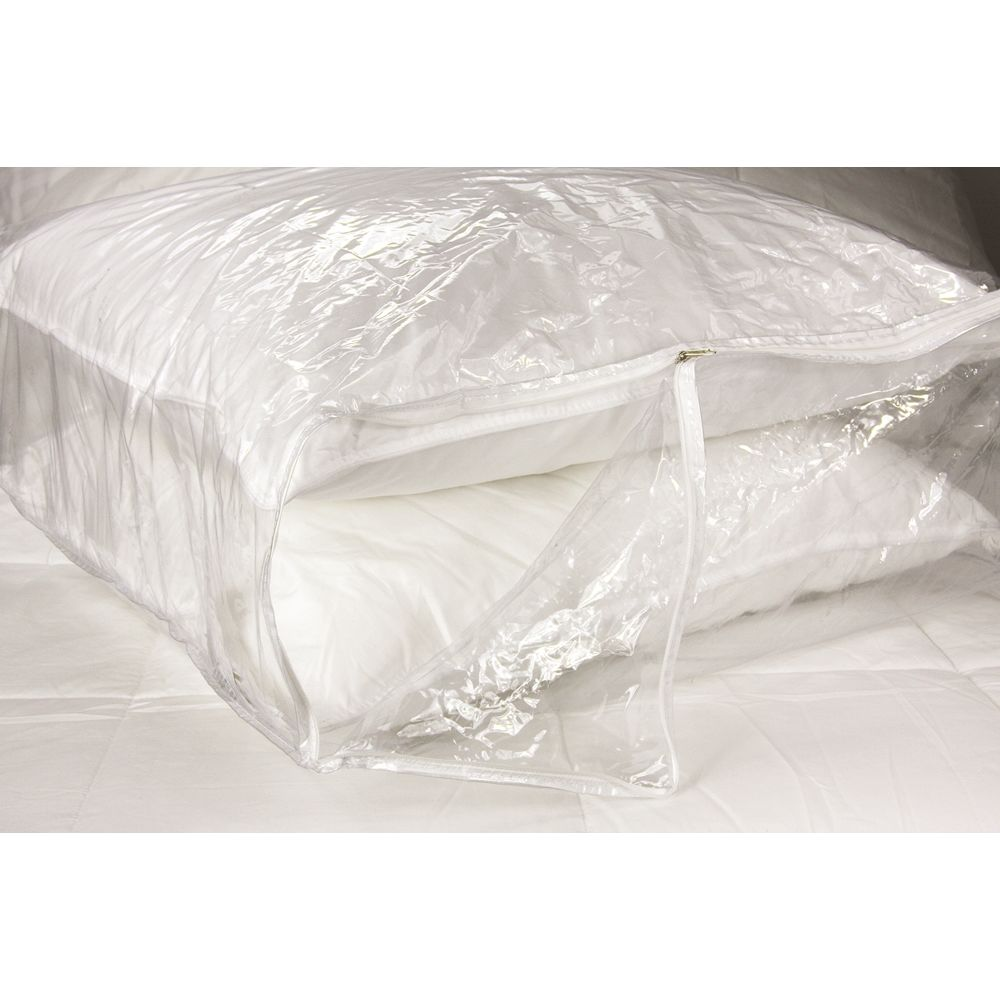 Fairview® Blanket & Pillow Storage Bag, Large 23W x 23L x 8H, Vinyl Zipper, Clear