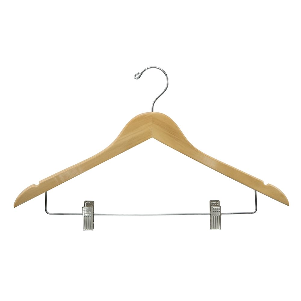 Women's Hanger, Flat Open Hook with Clips, Natural with Nickel Hook & Clips