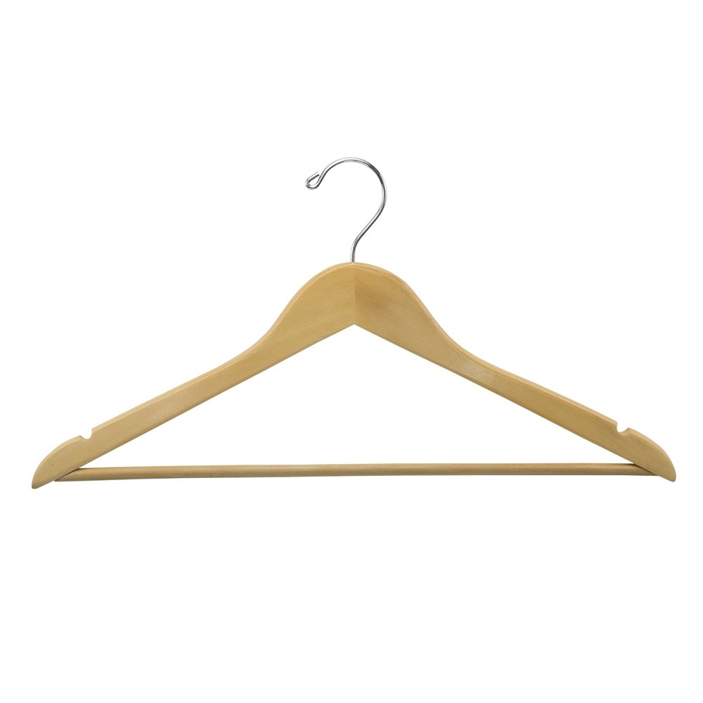 Men's Hanger, Flat Open Hook with Dowel Bar, Natural with Nickel Hook