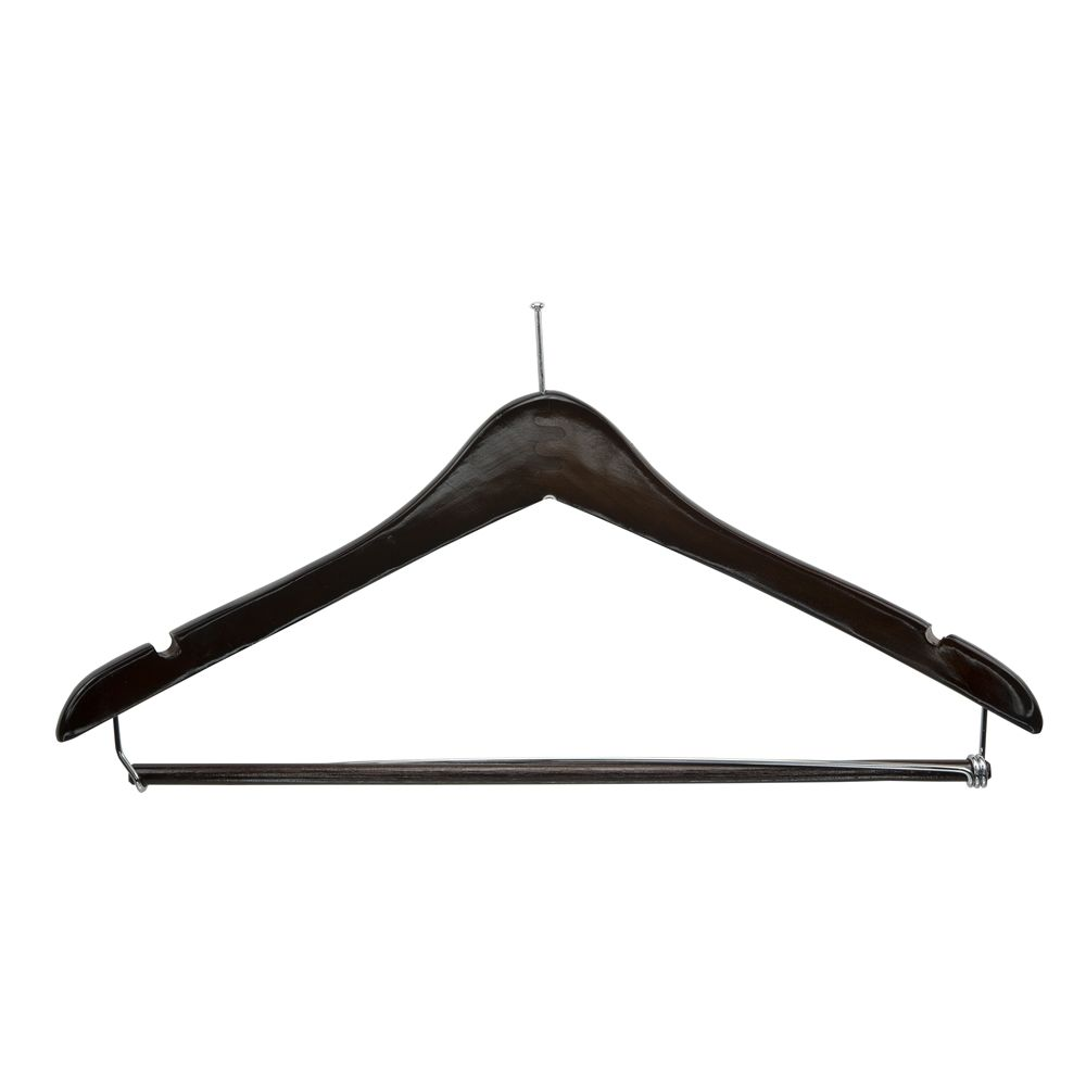 Men's Walnut Hanger, Ball Top Contour with Locking Bar and Chrome Hardware