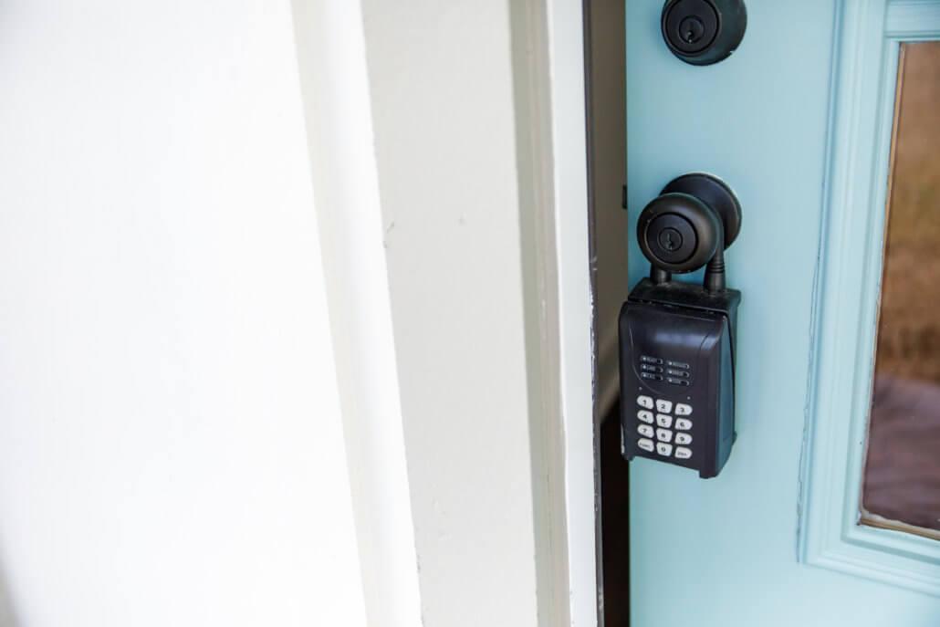 A push-button lock is one type of lockbox