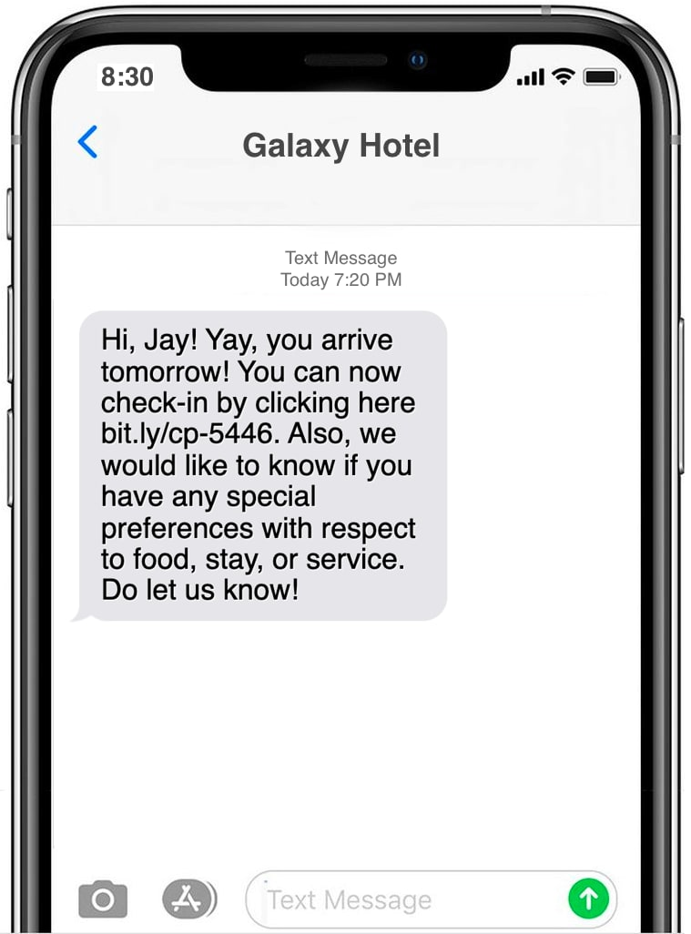 Check in text message example