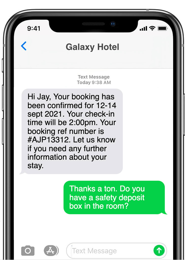 Booking confirmation text message example