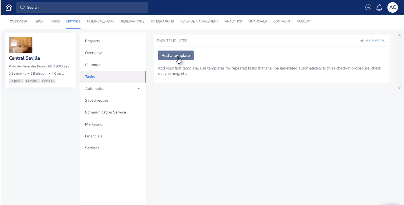 Select the listing for which you'd like to create an automatic task