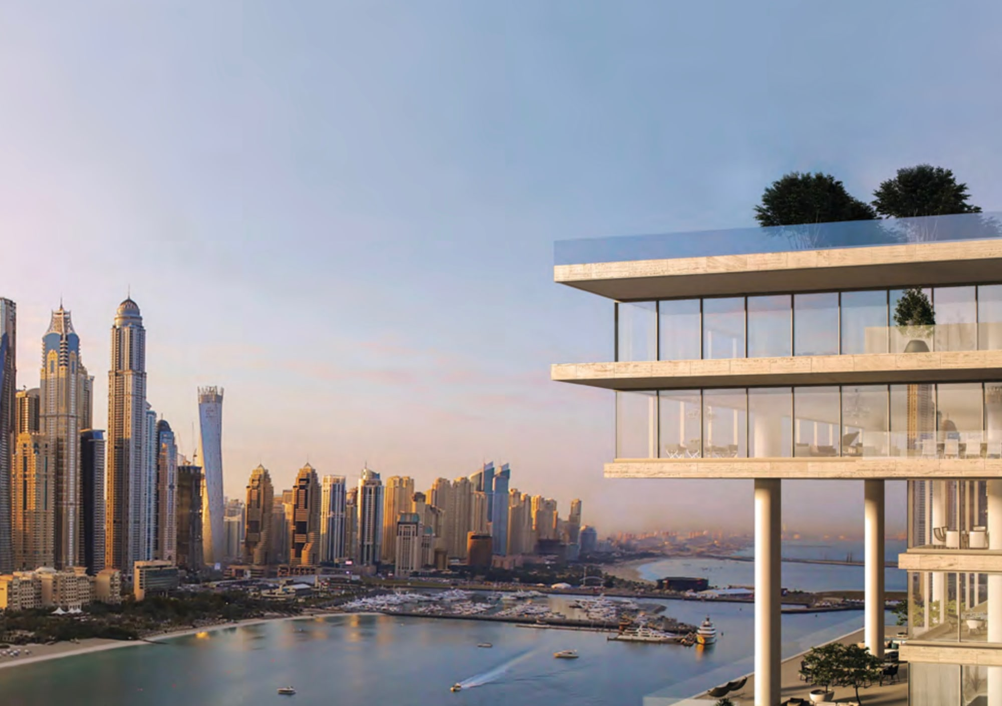 Super Potato Design | Beach and Dubai Skyline view