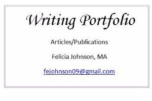 Portfolio for Internet, HTML, and Desktop Publishing
