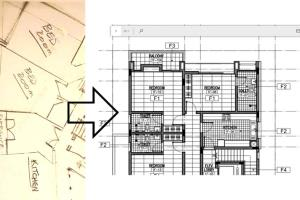 Portfolio for convert hand sketch image to CAD drawing