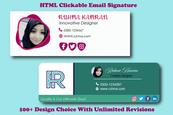 Portfolio for Create clickable HTML email signature