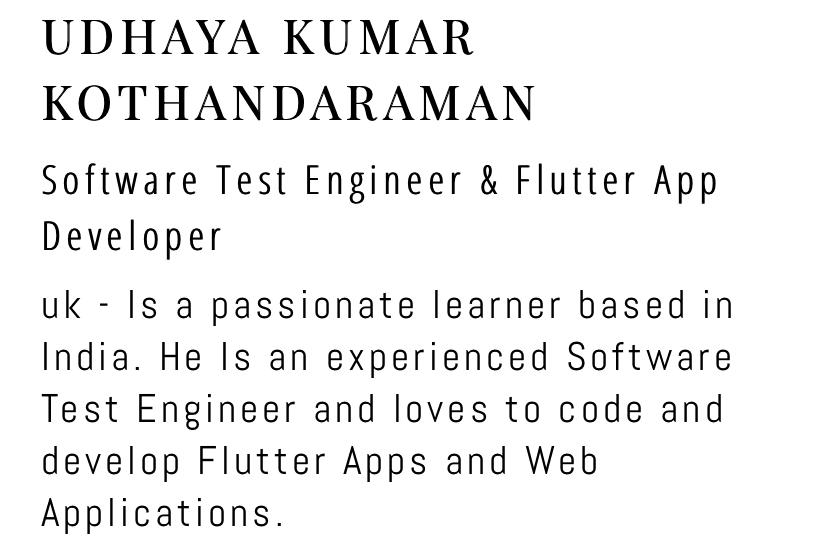 Portfolio for Flutter app development and react js dev