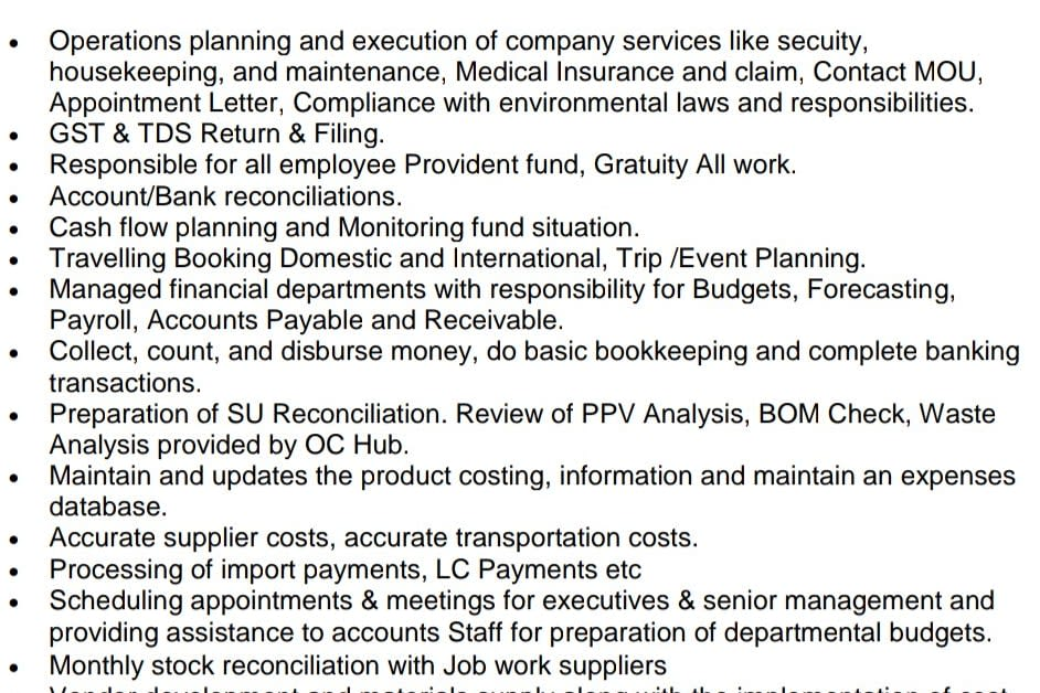 Portfolio for Account & Payroll Manager