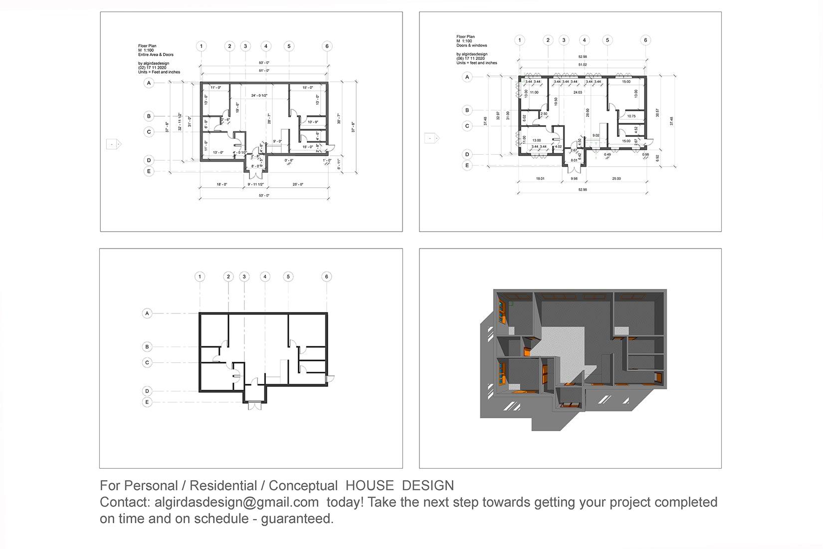 Portfolio for 2D Plans Drawing  Professional 3D Mod.