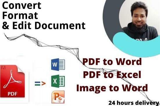 Portfolio for Convert PDF to Word, Image to Word