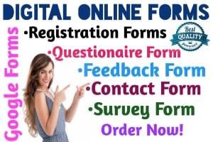 Portfolio for Survey Form with Google Forms