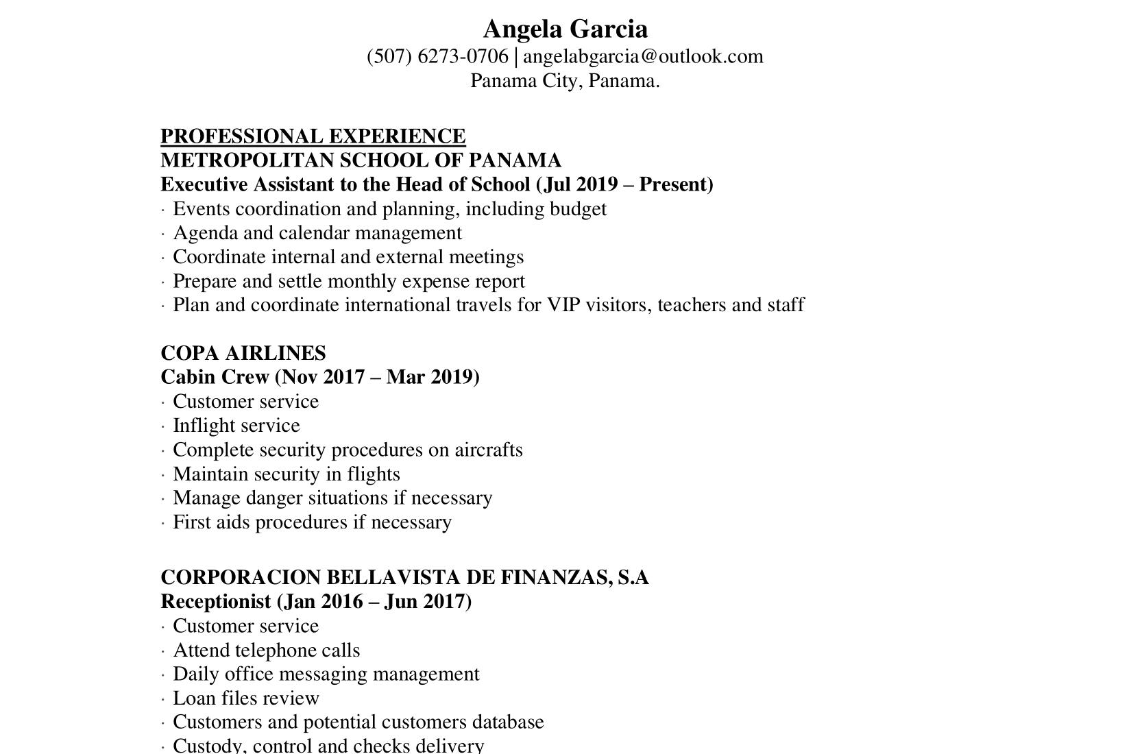 Portfolio for Virtual Assistant - English/Spanish
