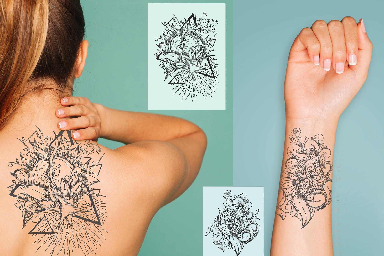 Portfolio for design tattoo black and white in lineart