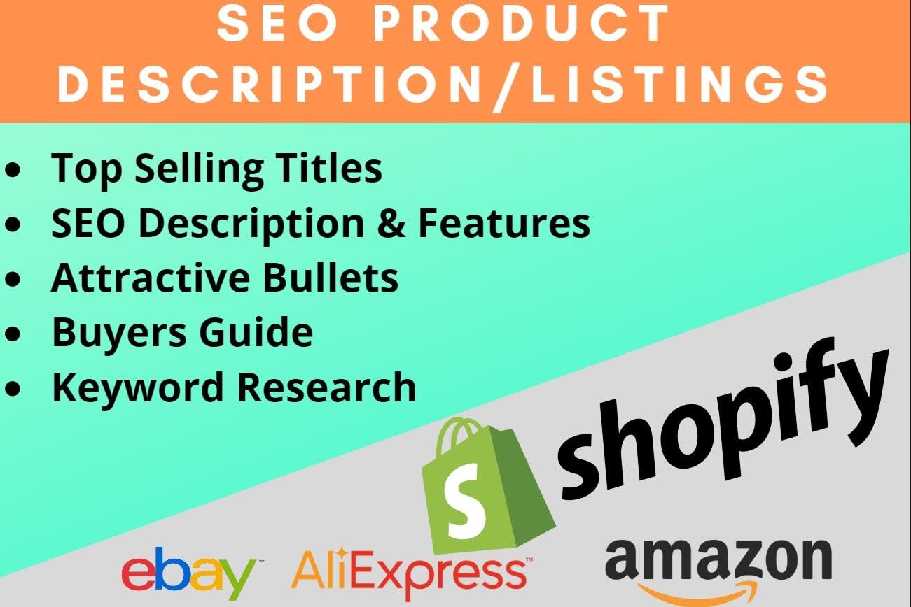 Portfolio for amazon and shopify product descriptions