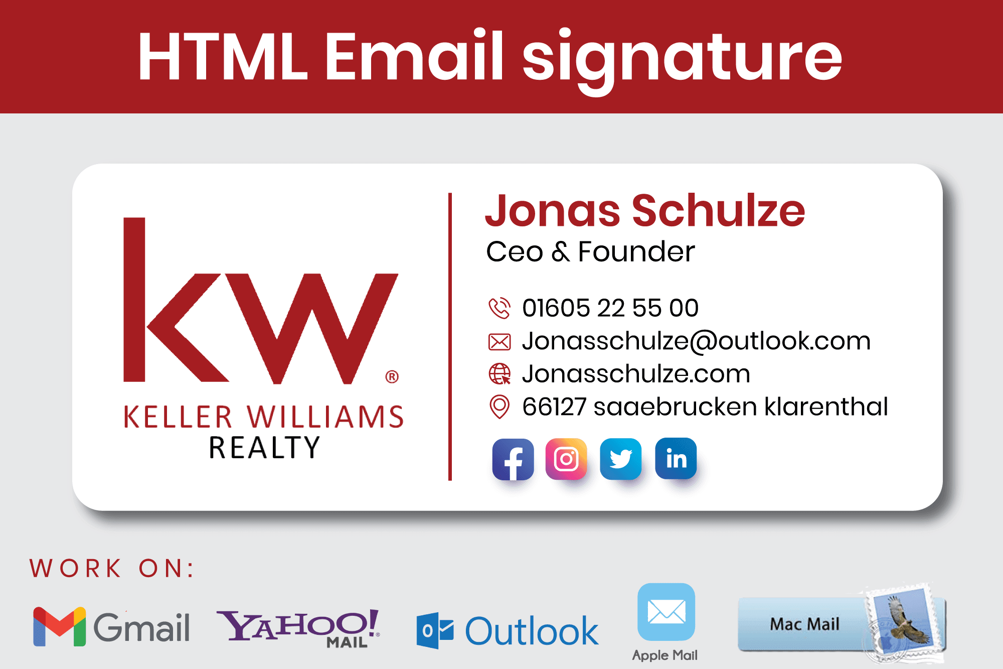 Portfolio for Email signature - HTML (Fully Clickable)