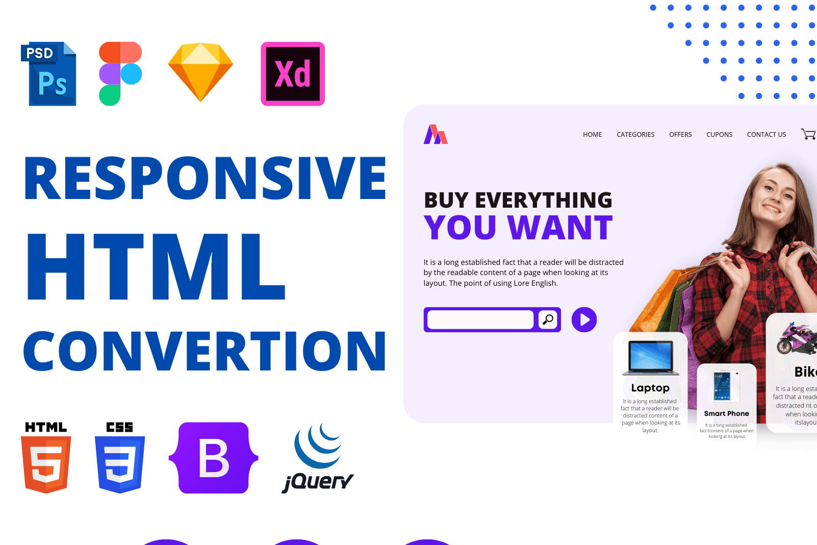 Portfolio for PSD, Figma or XD to HTML CSS Convertion