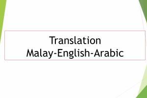 Portfolio for Translation Arabic-English-Malay