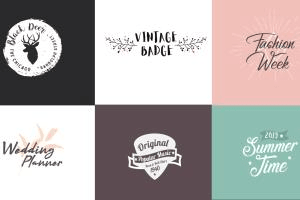 Portfolio for create hand made text vintage badges and