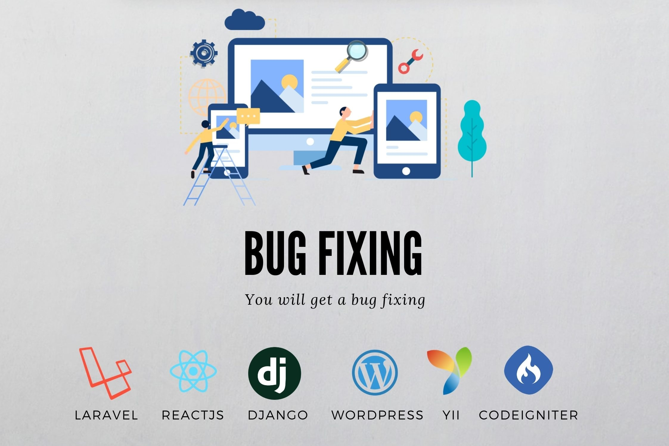 Portfolio for Bug fixing for Laravel, Reactjs, Django