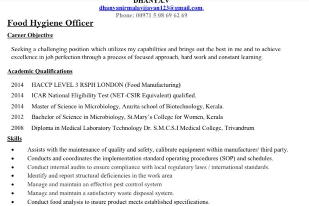 Portfolio for Microbiology post graduation