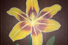 Yellow Lily Acrylic Painting