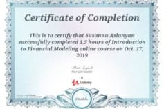 Financial Modeling - Certificate of Completion