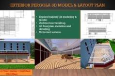 exterior pergola 3d model & layout plan