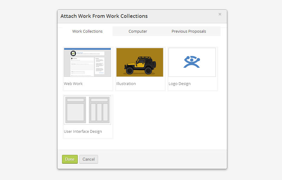 Attach Work Collections to Proposals grey bkgd