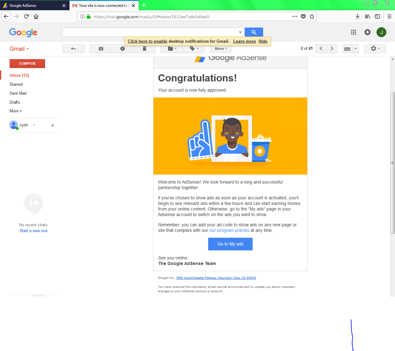 My AdSense Approved For My Another Blog Hoooray... 1