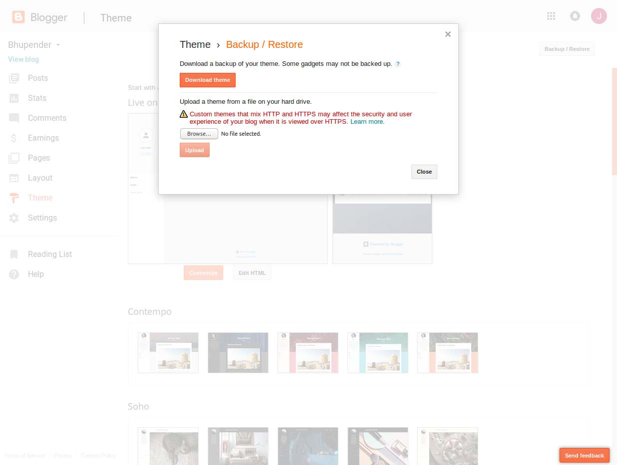 custom theme upload blogger