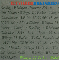 Eltviller Rheinberg Riesling Sekt Brut Nature Flaschengärung