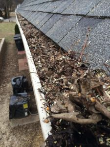 gutter clogged with leaves and twigs prior to gutter cleaning