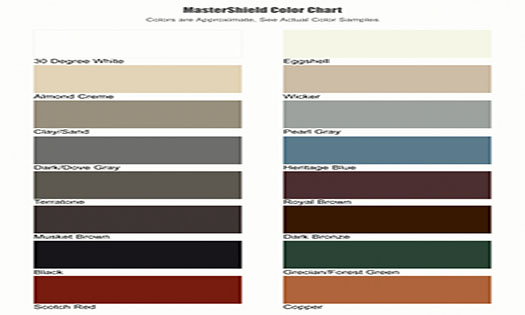 MasterShield gutter guards color chart