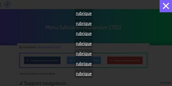 Menu fullscreen CSS3