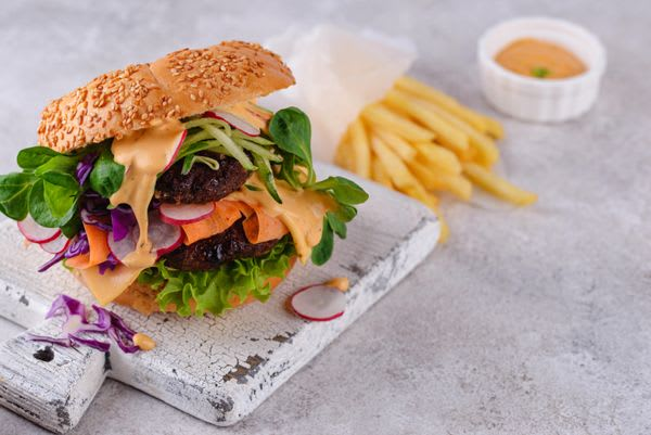 Burger with vegetables and plant-based cutlet